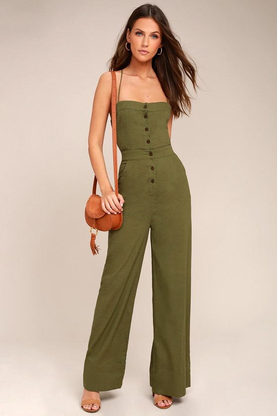 3ed672f4b78 Olive Green Jumpsuit - Lace-Up Jumpsuit - Backless Jumpsuit