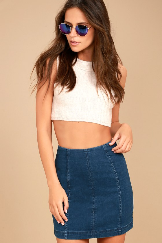 Free People Modern Femme Dark Wash Denim Mini Skirt 2