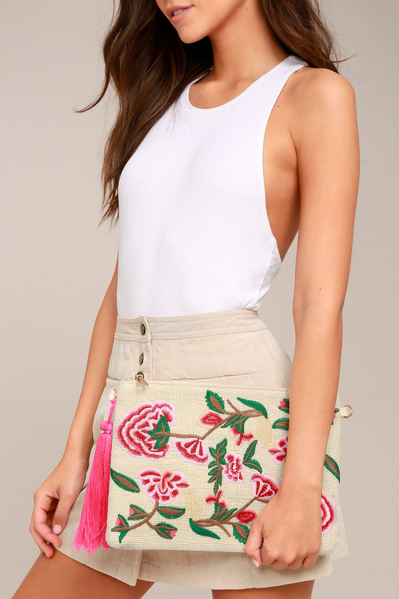 Abloom Light Beige Floral Embroidered Clutch 1