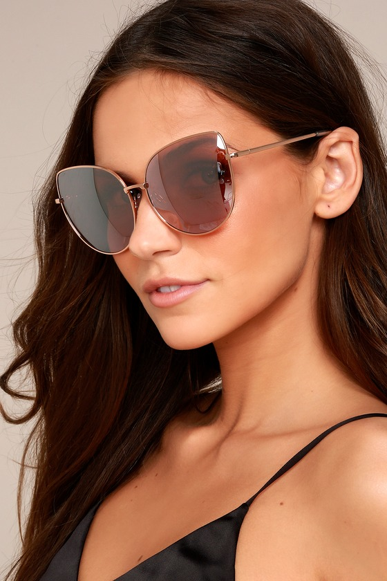 510d0c9b8cd6c Trendy Rose Gold Sunglasses - Pink Mirrored Sunglasses - Oversized  Sunglasses -  15.00