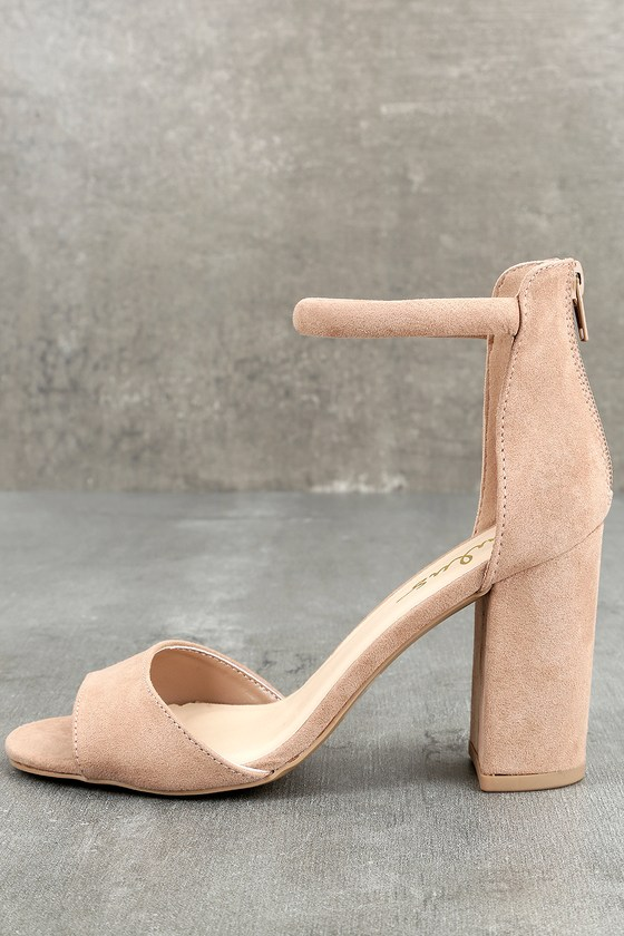 Sidecar Cutie Taupe Suede Ankle Strap Heels 8