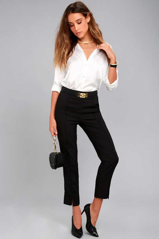 caffd62837f2 Chic Black Pants - Trouser Pants - Slit Dress Pants