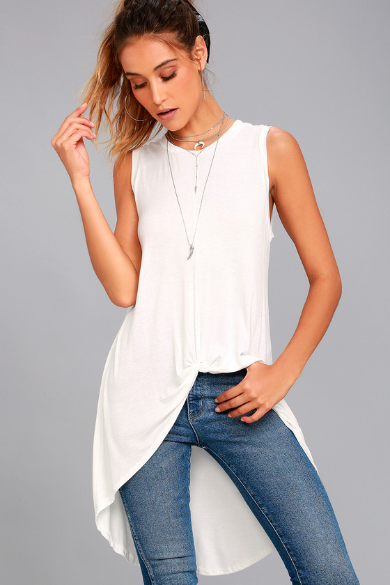 54d0b1d97ee5e Trendy High-Low Top - White Tank Top - Knotted Tank Top