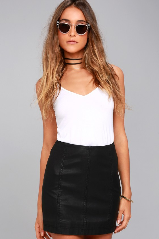 Free People Modern Femme Black Vegan Mini Skirt 2