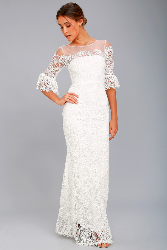 First Day of My Life White Lace Maxi Dress 5