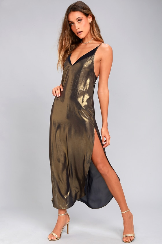 Free People Anytime Shine Gold Slip Dress 5