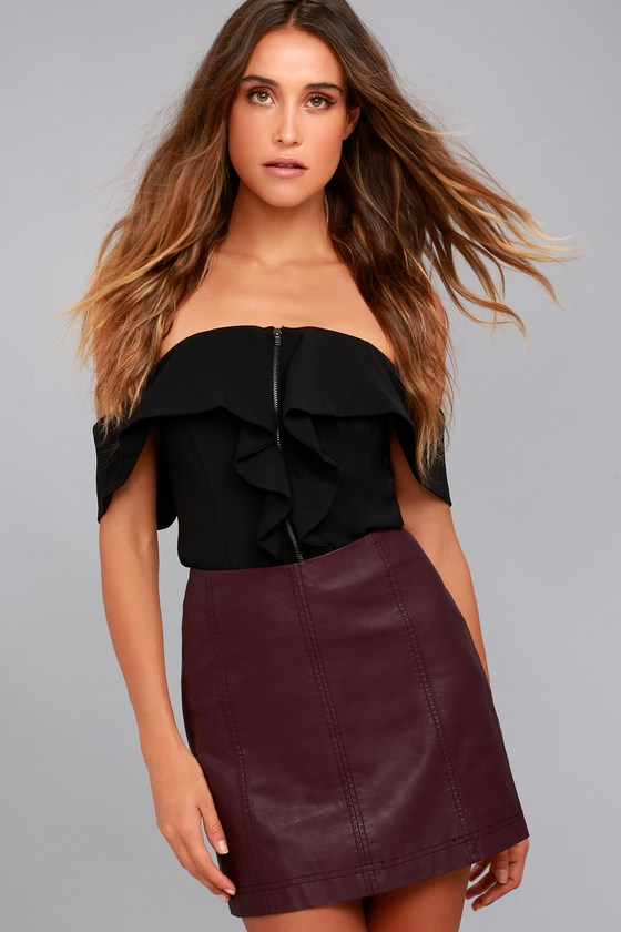 Free People Modern Femme Wine Red Vegan Leather Mini Skirt 2