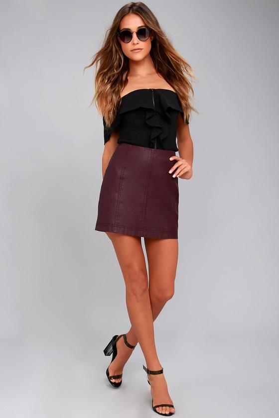 5235b570c1 Free People Modern Femme - Plum Purple Vegan Leather Skirt
