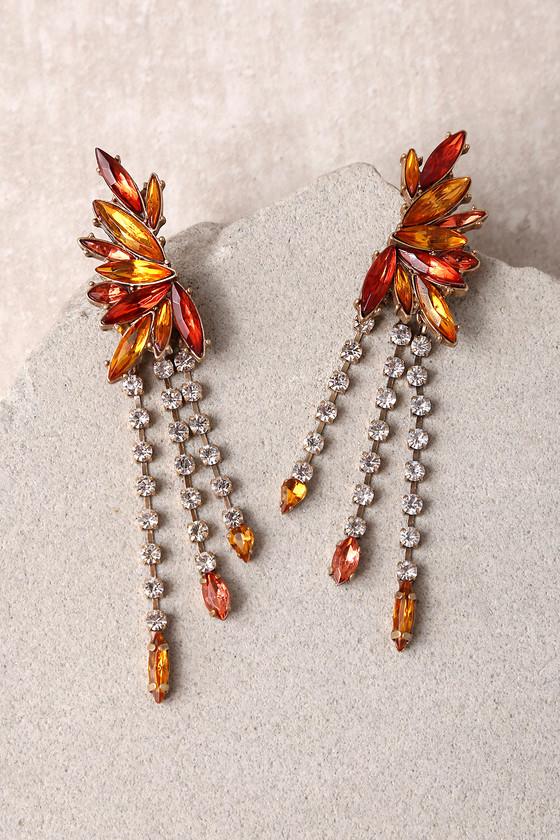 Bon Appetit Red and Orange Rhinestone Earrings 2