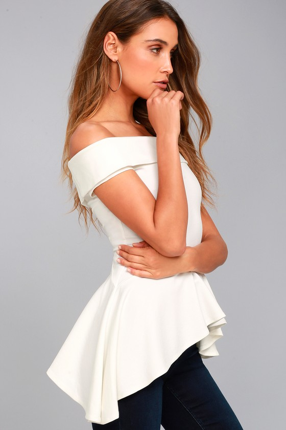 Shopping Spree White Off-the-Shoulder Top 1