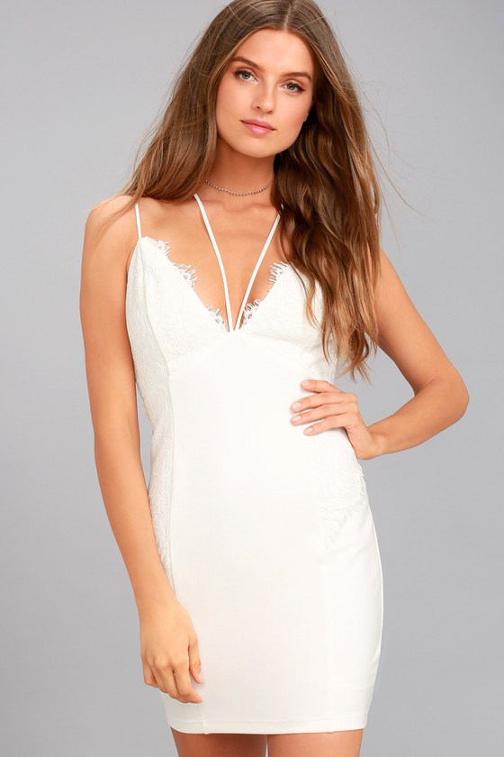 Slice of Heaven White Lace Bodycon Dress 3