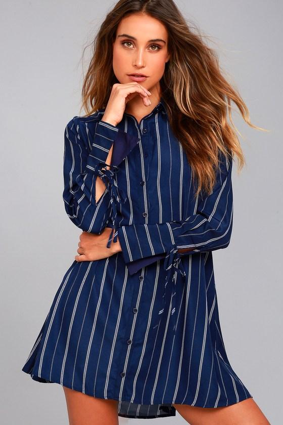 509488f90d Chic Navy Blue Dress - Striped Dress - Shirt Dress
