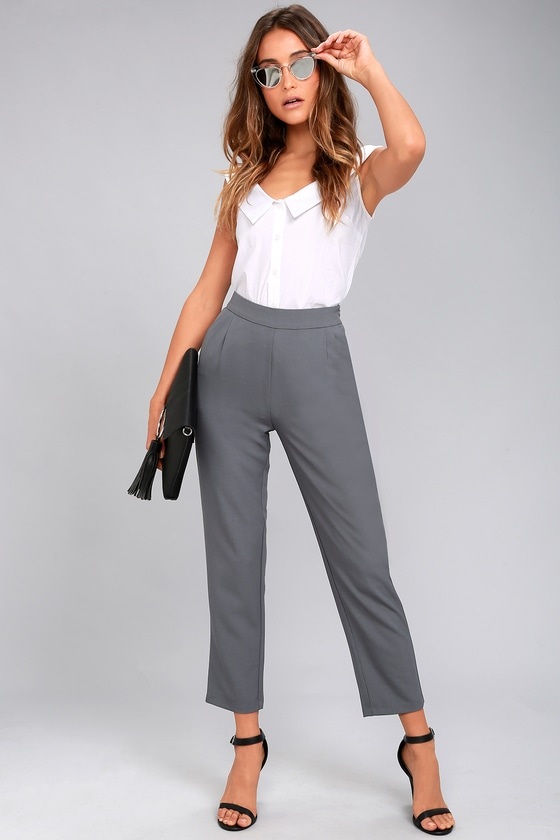 ab85516d2538 Chic Grey Pants - Trouser Pants - Dress Pants