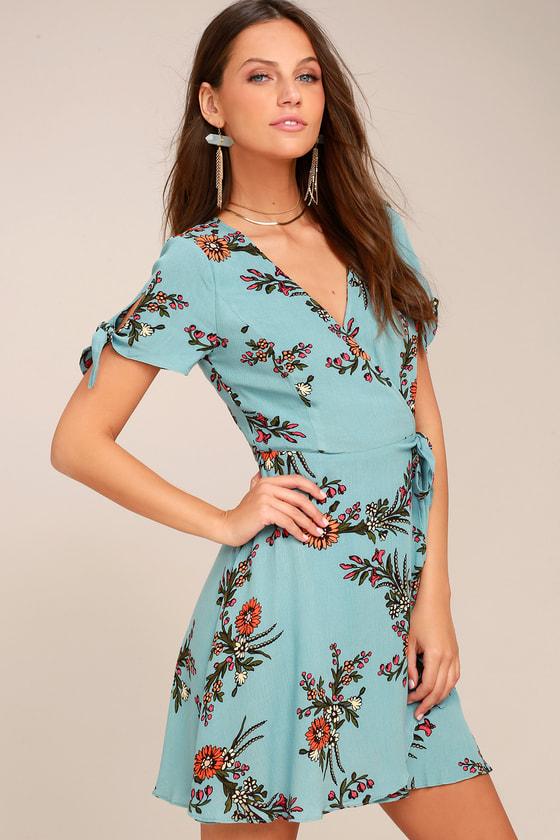 Kiss and Pastel Light Blue Floral Print Wrap Dress 4