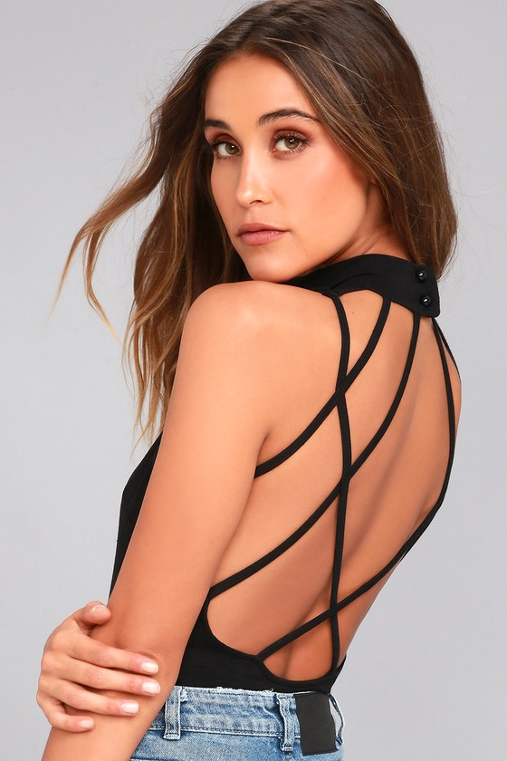 History of Time Black Backless Bodysuit 13