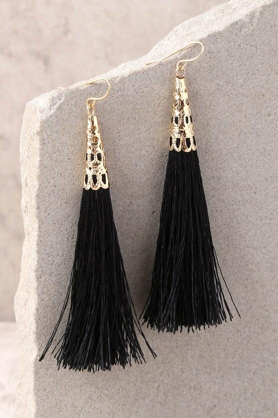 76bb0219157d00 Chic Black Earrings - Tassel Earrings - Fringe Earrings