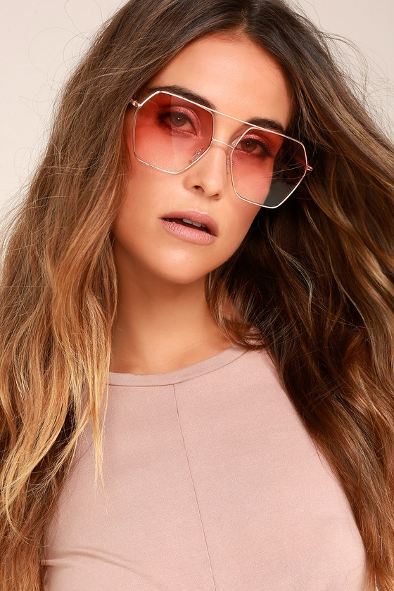 Funky Town Pink and Gold Aviator Sunglasses 1