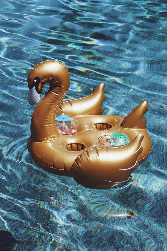 Sunnylife Swan Gold Inflatable Drink Holder 1