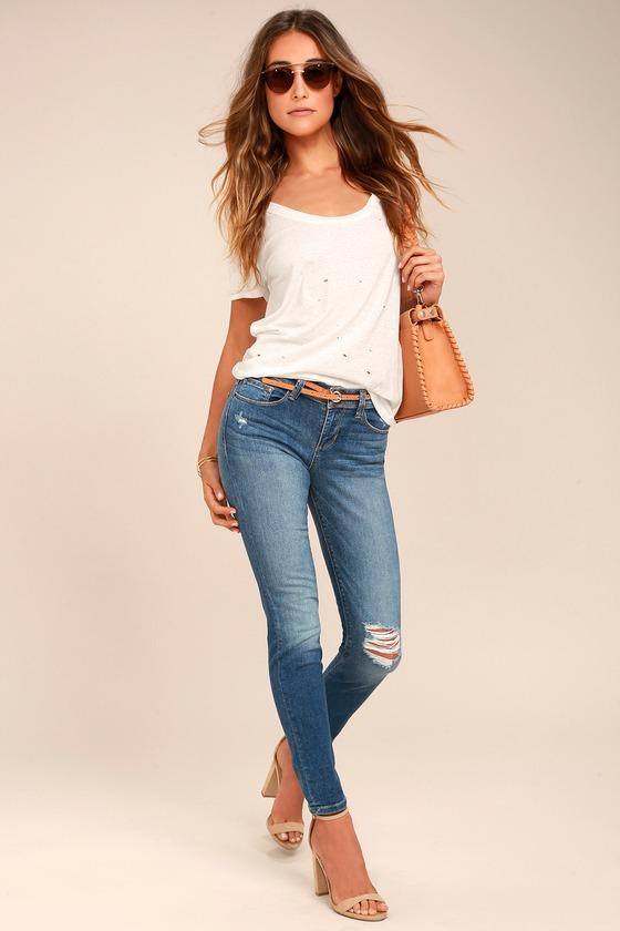 Keep on Dancin' Medium Wash Distressed Skinny Jeans 1