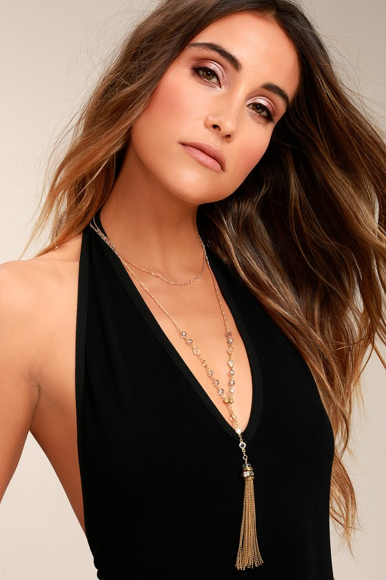 Infatuate Gold Layered Tassel Necklace 3