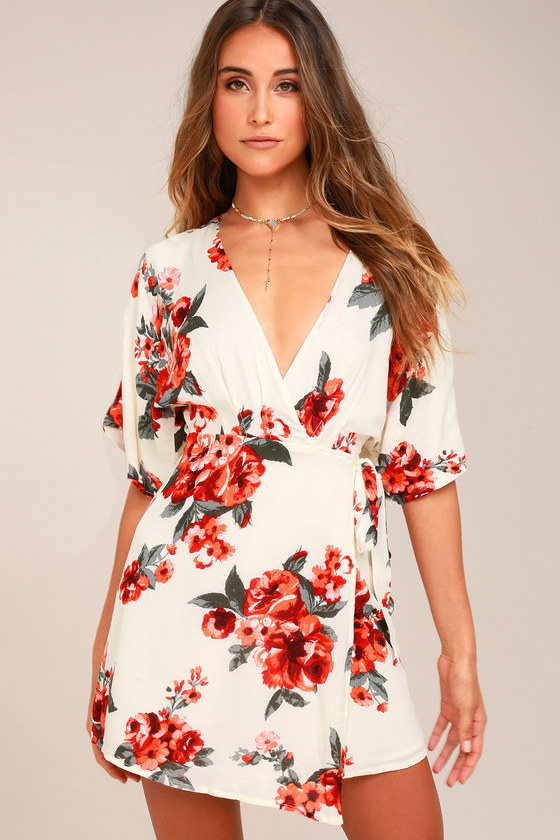 Orchard Fresh Cream Floral Print Wrap Dress 2