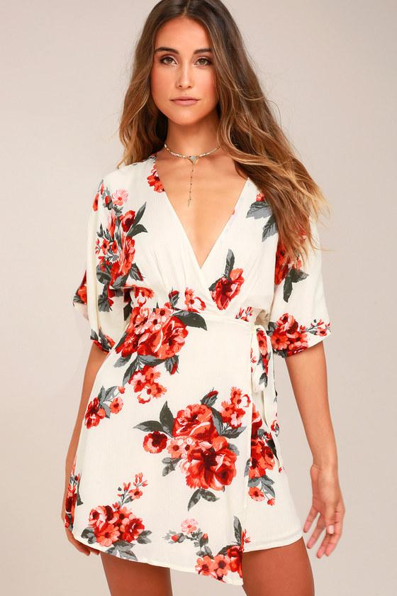 c19b7d1b769 Orchard Fresh Cream Floral Print Wrap Dress