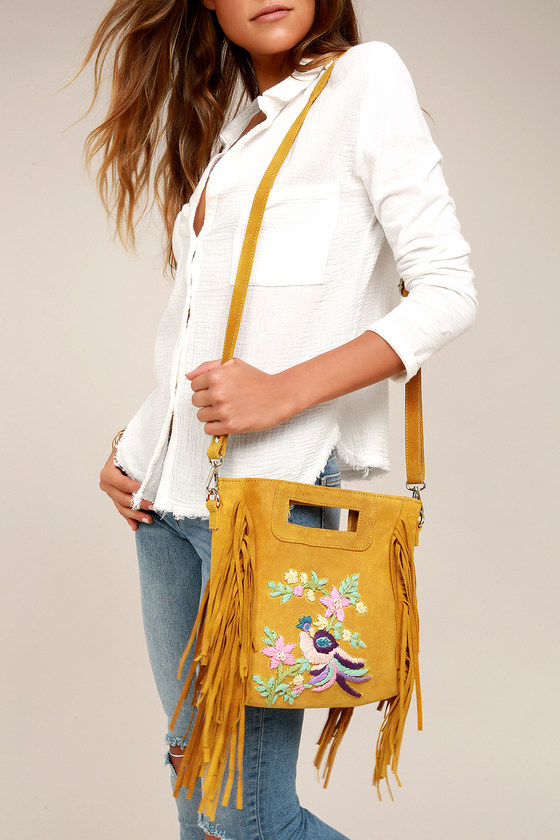 California Dreamin' Yellow Suede Leather Embroidered Purse 1