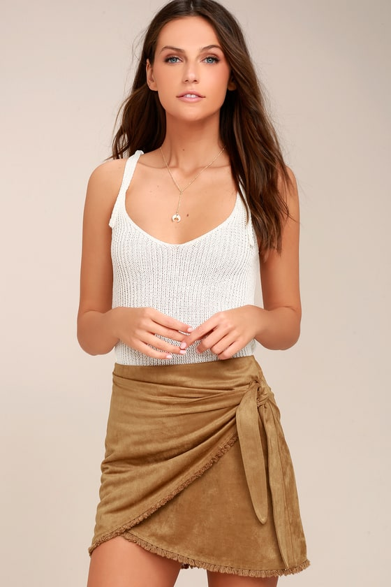 Chic Mini Skirt - Vegan Suede Mini Skirt - Tan Skirt
