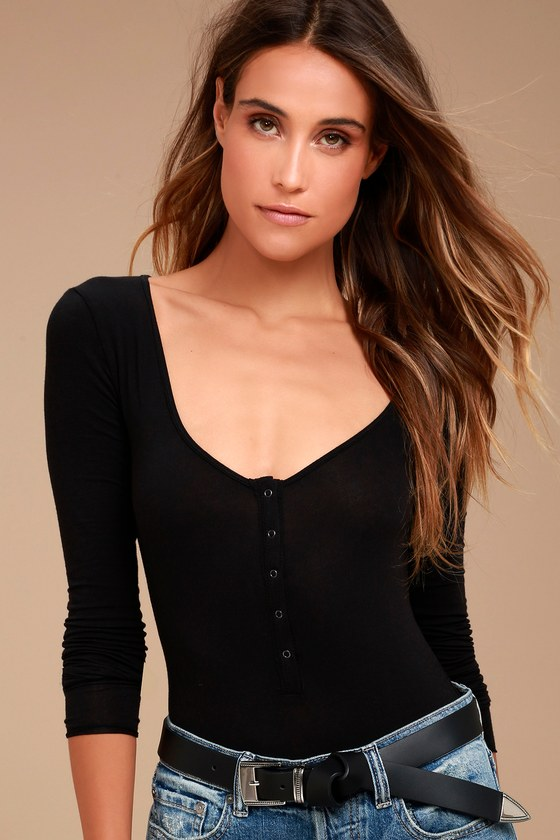 Free People Simply Henley Washed Black Long Sleeve Bodysuit 6
