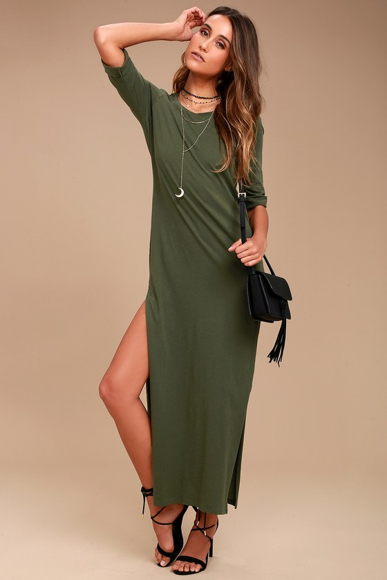 Tavik Parker Olive Green Maxi Dress 1