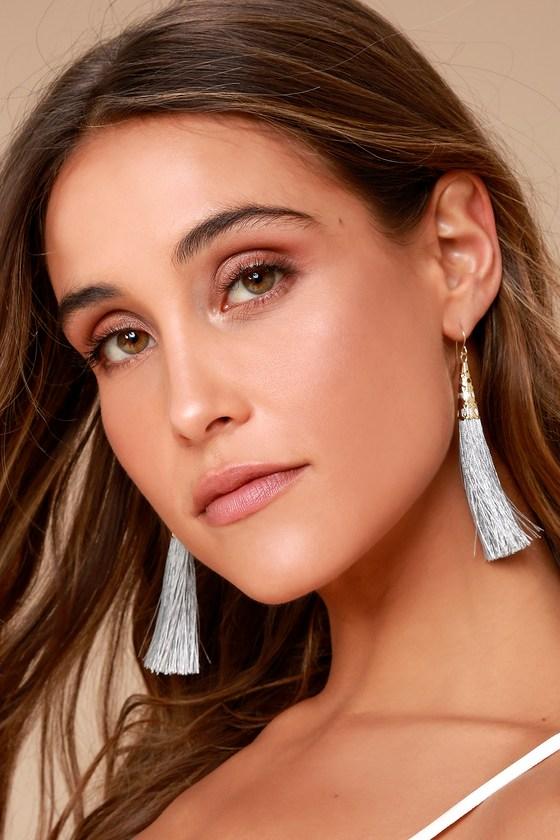 Bellamy Grey Tassel Earrings 1