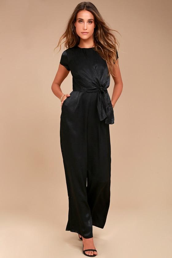 53108003be59 Chic Black Jumpsuit - Satin Jumpsuit - Knotted Jumpsuit