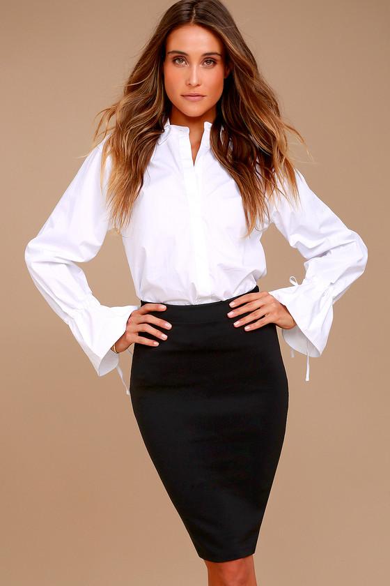 4ce1db47cb47 Chic Pencil Skirt - Black Midi Skirt - Bodycon Skirt