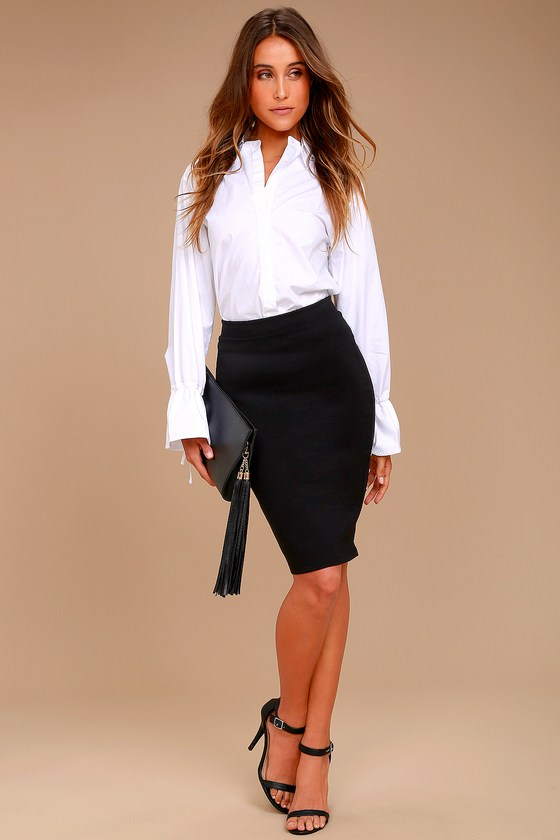 4f913d1374 Chic Pencil Skirt - Black Midi Skirt - Bodycon Skirt