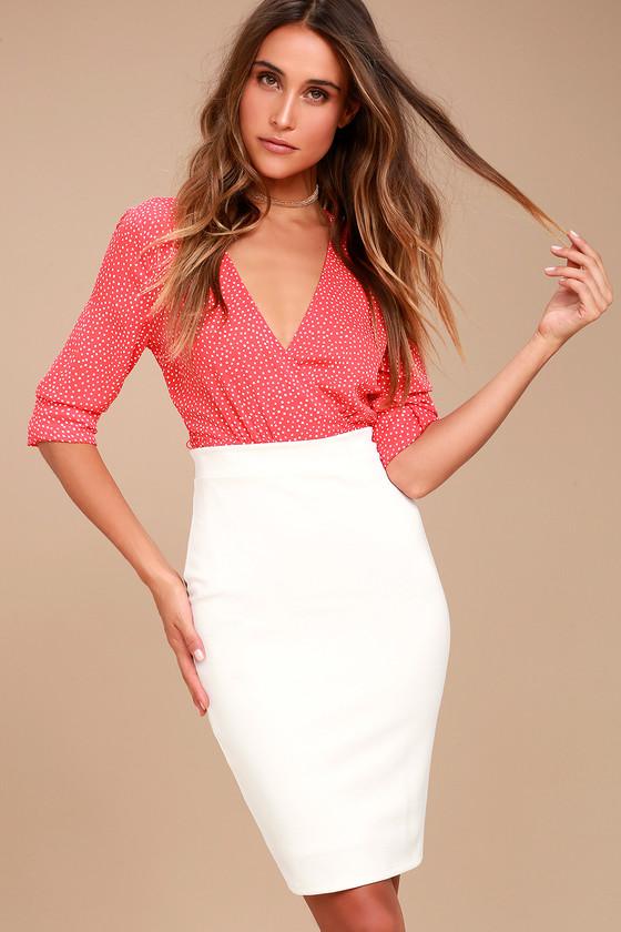 7a505ecb55a2b9 Chic Pencil Skirt - White Midi Skirt - Bodycon Skirt
