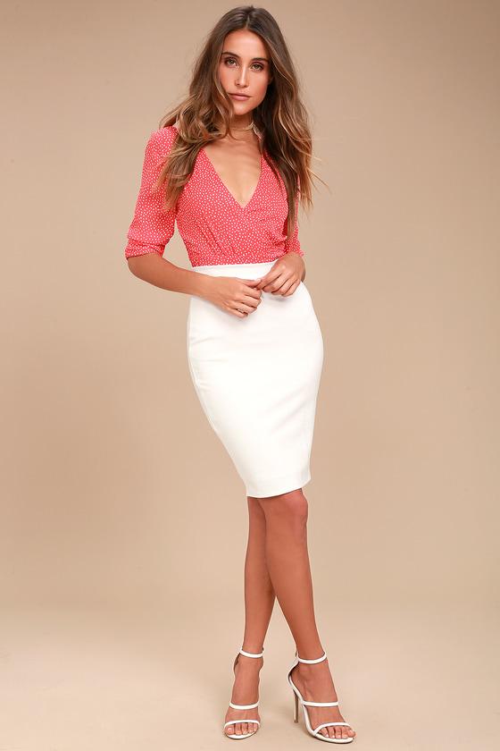 1c99d3a47d8e Chic Pencil Skirt - White Midi Skirt - Bodycon Skirt