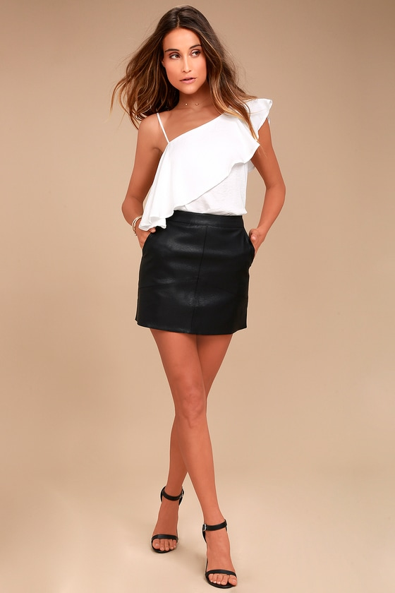 Sexy Mini Skirt Vegan Leather Mini Skirt Black Skirt