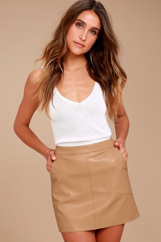 ea633b0b3afc Sexy Mini Skirt - Vegan Leather Mini Skirt - Tan Skirt