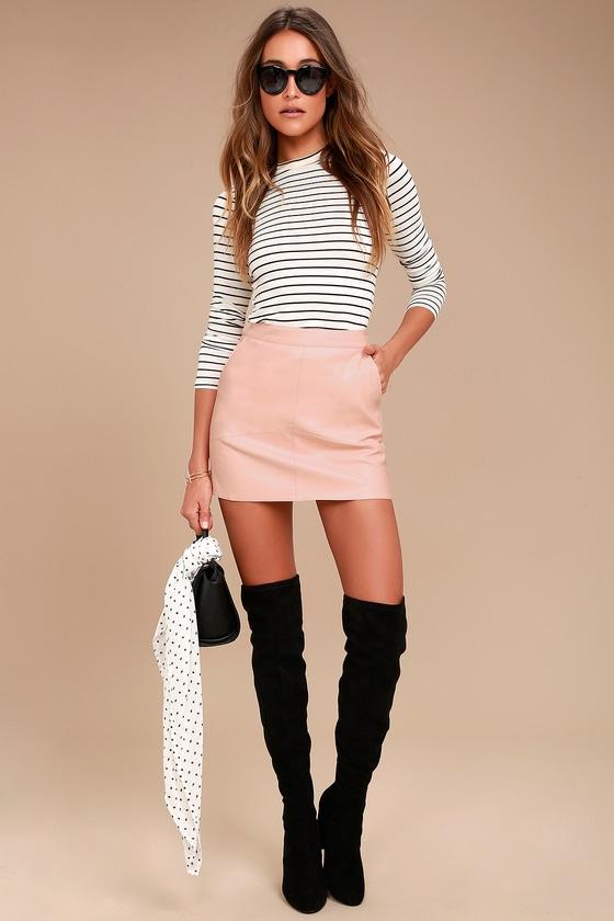 40392ab2e Sexy Mini Skirt - Vegan Leather Mini Skirt - Blush Skirt