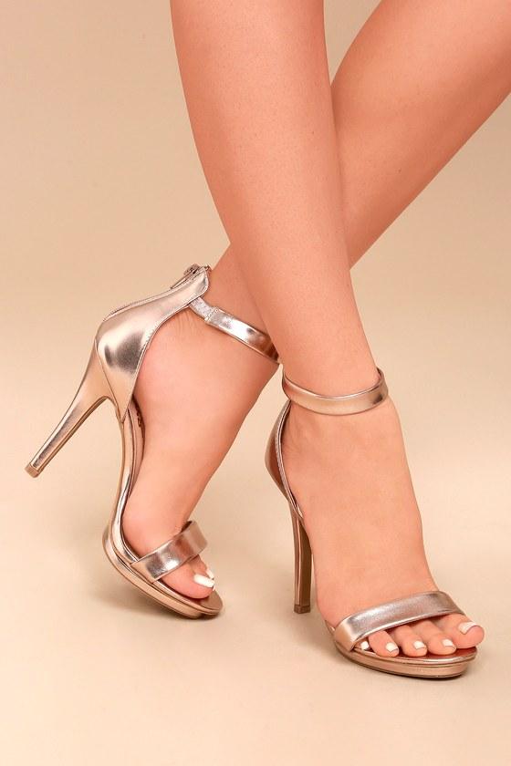 Samantha Rose Gold Platform High Heel Sandals 4