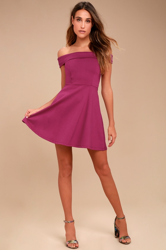 b6bba31dcea816 Cute Magenta Dress - Off-the-Shoulder Dress - Skater Dress