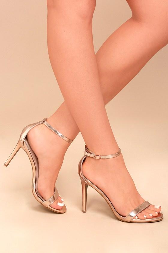 Rose Gold Heels Ankle Strap Heels Single Strap Heels