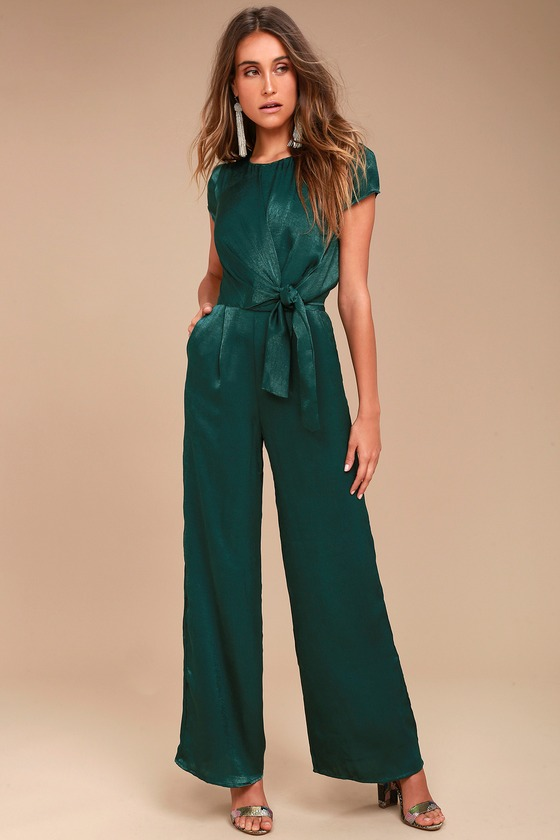 Let Me Entertain You Forest Green Satin Wide-Leg Jumpsuit 2