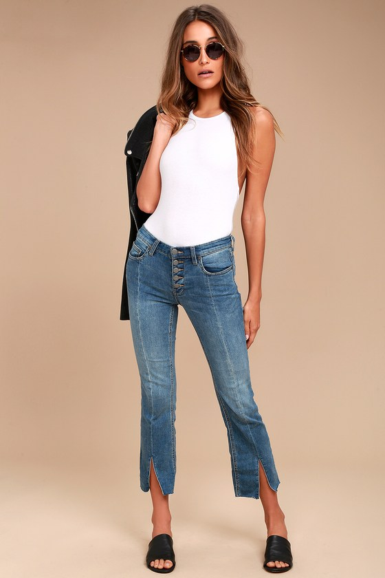 Free People Crop Button Front Medium Wash Jeans 1