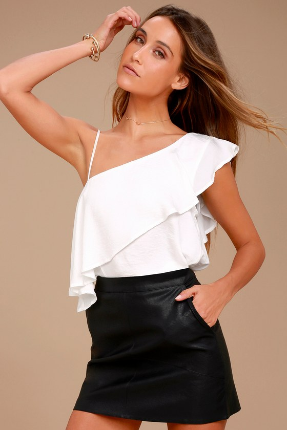 3934a323b42356 Cute White Top - One Shoulder Top - Satin Top