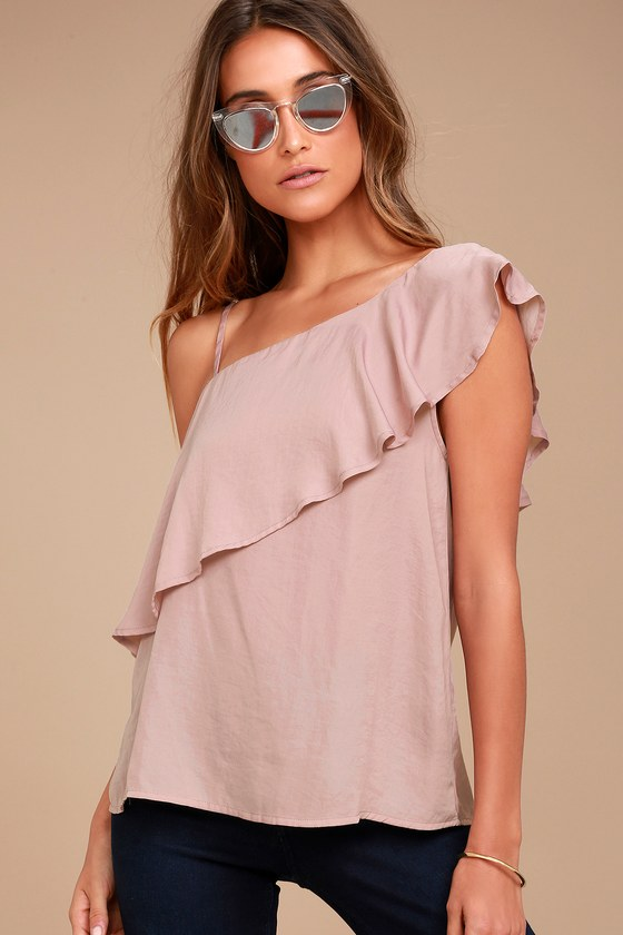 d6b6260bee0ece Cute Mauve Top - One Shoulder Top - Satin Top