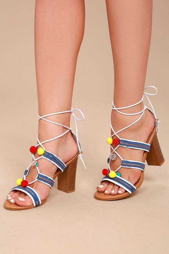 Delia White Lace-Up Pompom Heels 8