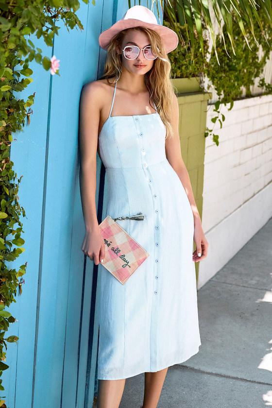 2b97a1c2203b Cute Blue Striped Dress - Midi Dress - Halter Dress - Backless Dress -   54.00