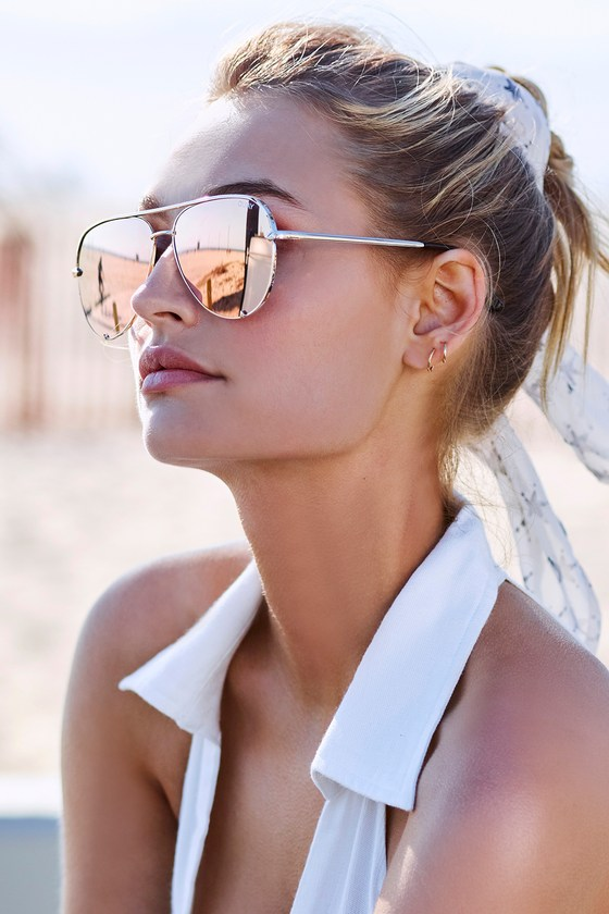 52569143f664df Quay High Key Sunglasses - Gold Aviator Sunglasses - Yellow Mirrored  Sunglasses