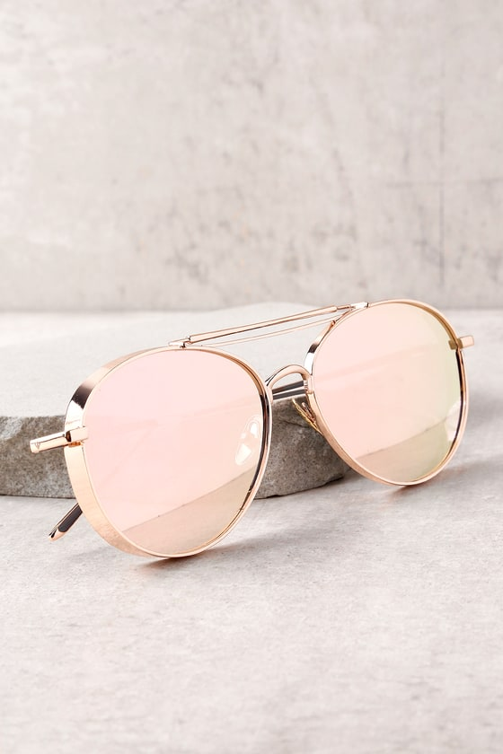 9d8532bb0415d Perverse Solid Rose Gold Mirrored Aviator Sunglasses